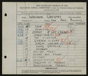 Entry card for Gregory, Waylande for the 1929 May Show.
