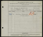 Entry card for Griffith, Donald Irving for the 1929 May Show.