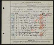 Entry card for Hall, Edgar S. for the 1929 May Show.