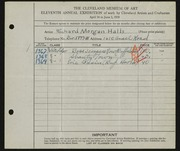 Entry card for Halls, Richard Morgan for the 1929 May Show.