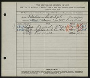 Entry card for Herbst, Milton for the 1929 May Show.