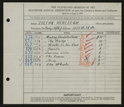 Entry card for Herczegh, Zoltan for the 1929 May Show.