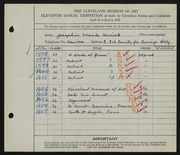Entry card for Herrick, Josephine Ursula for the 1929 May Show.