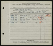 Entry card for Hummel, Richard O. for the 1929 May Show.