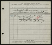 Entry card for Incorvaia, Joseph for the 1929 May Show.