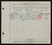 Entry card for Janezic, Frank for the 1929 May Show.