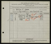 Entry card for Jarm, William F. for the 1929 May Show.