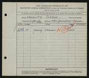 Entry card for Jordan, Charlotte H. for the 1929 May Show.