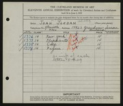 Entry card for Jordan, Joan for the 1929 May Show.