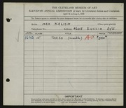 Entry card for Kalish, Max for the 1929 May Show.