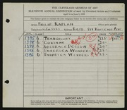 Entry card for Kaplan, Philip for the 1929 May Show.