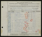 Entry card for Kaufman, Edwin for the 1929 May Show.