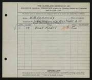 Entry card for Kennedy, W.M. for the 1929 May Show.