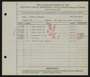 Entry card for Kirkland, Vance for the 1929 May Show.