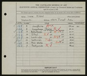 Entry card for Kissel, Irene  for the 1929 May Show.