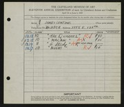 Entry card for Lentine, James for the 1929 May Show.