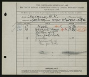 Entry card for Leuthold, W. K. for the 1929 May Show.