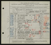 Entry card for Limbach, Russell T. for the 1929 May Show.