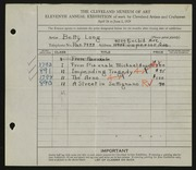 Entry card for Long, Elizabeth French for the 1929 May Show.