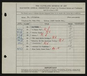 Entry card for Lupton, John C.  for the 1929 May Show.