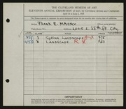 Entry card for Mabry, Frank E. for the 1929 May Show.