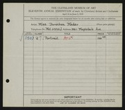 Entry card for Mader, Dorothea for the 1929 May Show.