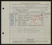 Entry card for Marker, Thomas for the 1929 May Show.