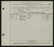 Entry card for McKee, Katherine Louise for the 1929 May Show.