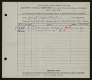 Entry card for Merlin, Janet Orkin for the 1929 May Show.