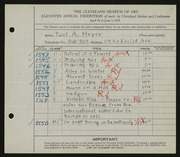 Entry card for Meyer, Paul A. for the 1929 May Show.