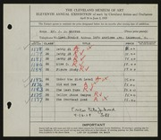Entry card for Morron, John D. for the 1929 May Show.