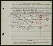 Entry card for Motts, Alicia Sundt for the 1929 May Show.