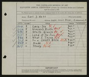 Entry card for Neff, Earl J. for the 1929 May Show.