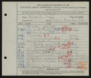 Entry card for Neff, Vera Odeyne, and Sebring Pottery Company for the 1929 May Show.