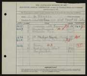 Entry card for Newell, Clifton for the 1929 May Show.