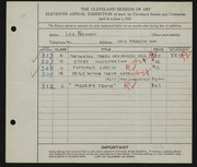 Entry card for Nowak, Leo for the 1929 May Show.