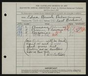 Entry card for Perkins, Edna Brush for the 1929 May Show.