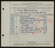 Entry card for Rentschler, Fred for the 1929 May Show.