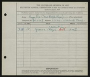 Entry card for Rex, Peggy for the 1929 May Show.