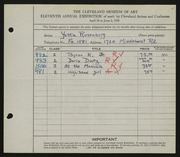 Entry card for Rosenberg, Yetta for the 1929 May Show.