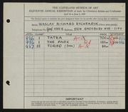 Entry card for Rychtarik, Richard for the 1929 May Show.