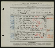 Entry card for McClean, Clara for the 1929 May Show.