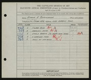 Entry card for Schraishuhn, Eunice E. for the 1929 May Show.