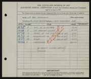 Entry card for Schrauf, Leroy J. for the 1929 May Show.