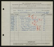 Entry card for Scott, Walter E. for the 1929 May Show.
