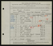 Entry card for Seaver, Hugh for the 1929 May Show.