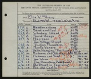 Entry card for Shaw, Elsa Vick for the 1929 May Show.