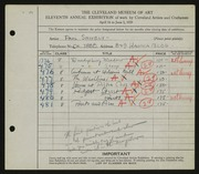 Entry card for Shively, Paul for the 1929 May Show.