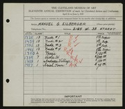 Entry card for Silberger, Manuel G. for the 1929 May Show.