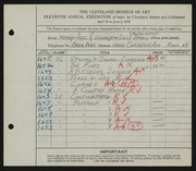 Entry card for Sill, Henry, and Lowery-Sill Studio for the 1929 May Show.
